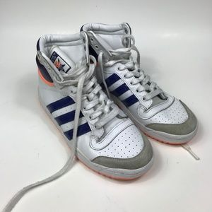 Womens 7 Adidas Top Ten Mid High VTG White Shoes